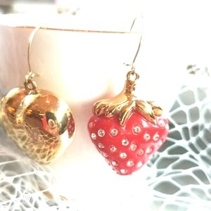 💯Auth LOUIS VUITTON Heart RED Strawberry Earrings